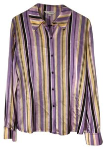 St. John Striped Silk Longsleeve Collar Button Down Shirt multi