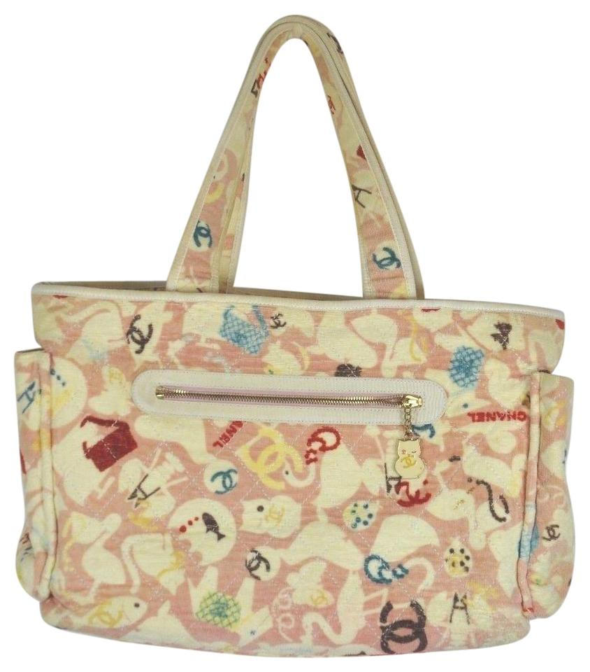 984c5cbdaaed Chanel Cotton Animals Pink. Multi Color Terry Cloth Diaper Bag - Tradesy