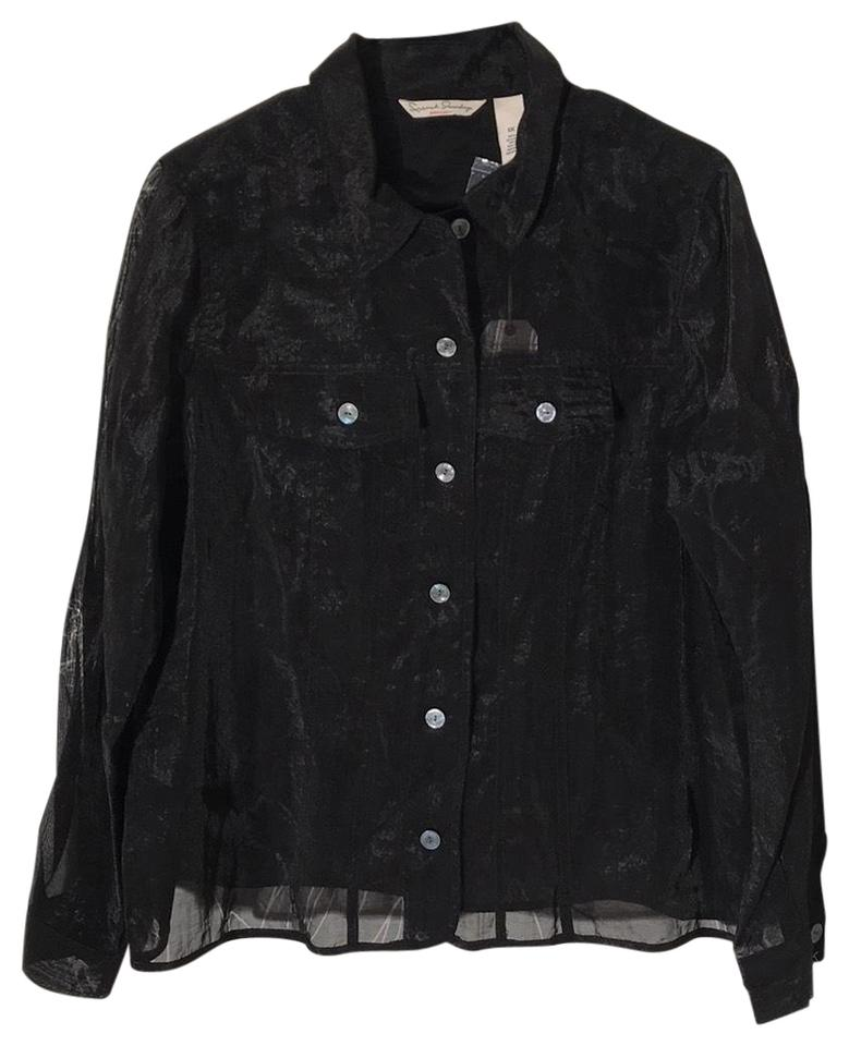 e36c9ed4 French Laundry Black Sheer Blouse/Jacket Button-down Top Size 20 ...