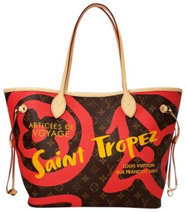 Louis Vuitton Saint Tropez Tahitienne Neverfull Leather Tote in Brown