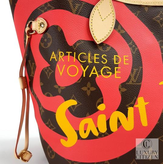 Louis Vuitton Saint Tropez Tahitienne Neverfull Leather Tote in Brown Image 7