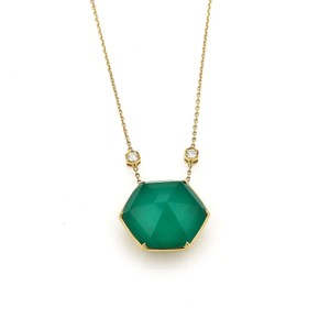 Stephen Webster Deco Diamond Chrysoprase Octagon 18k Yellow Gold Pendant