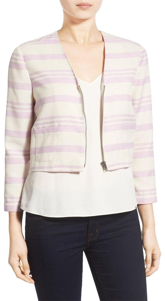 168f3575888bab cupcakes and cashmere Lavender & Cream New Stripe Crop Jacket Blazer ...