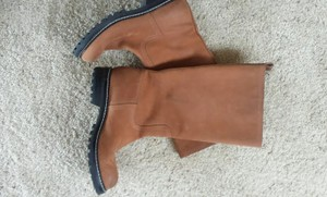 Marc Jacobs 3 Seasons Excellent Quality Round Toes Simple And Stylish Pull Classic Well Made Heavy Duty Lug Sole Fully Leather Made Light brown Boots