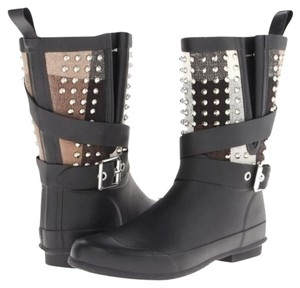 Burberry Studded Studded Rain Buckle Checkered Plaid black Boots