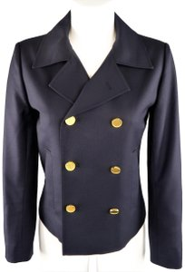 Saint Laurent Gold Button Double Breasted Pea Coat Cropped Wool Navy Jacket