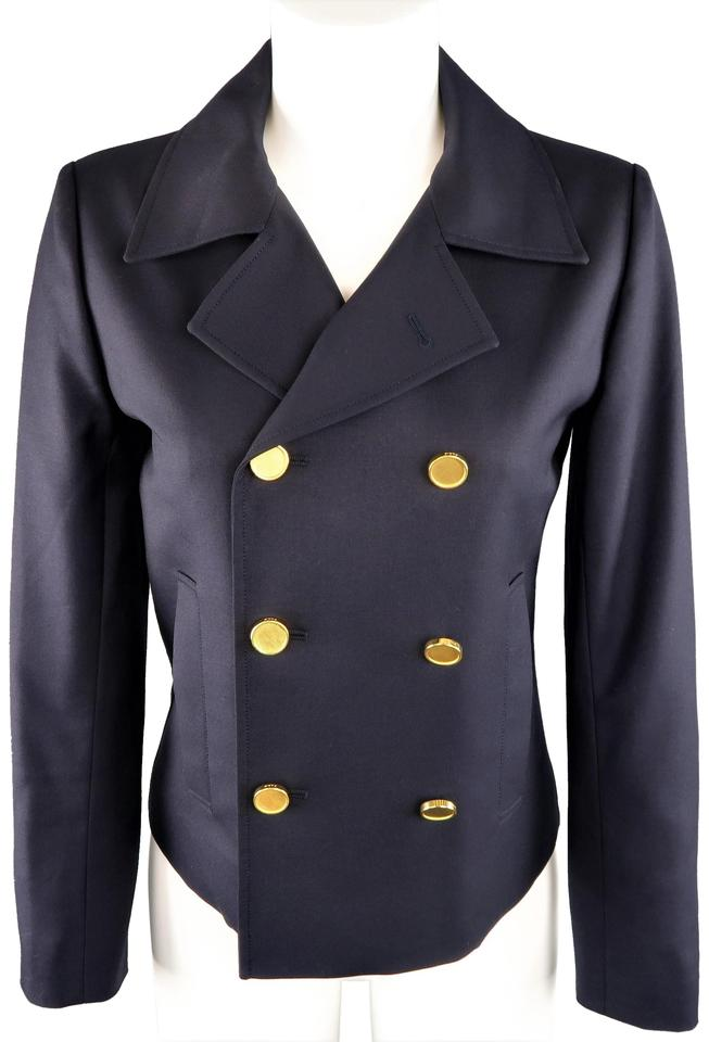 97bed67bac3 Saint Laurent Gold Button Double Breasted Pea Coat Cropped Wool Navy Jacket  Image 0 ...