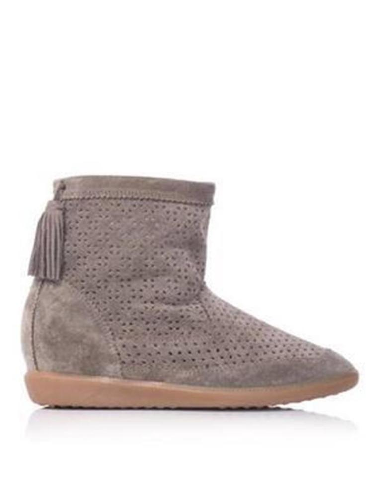 79486c4ddc56 Isabel Marant Taupe Beslay Perforated Suede Tassel Wedge Ankle Boots Booties