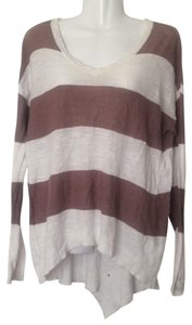 Anthropologie Left Of Center Striped Asymmetric Sweater