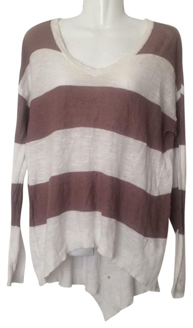 Preload https://img-static.tradesy.com/item/22640051/anthropologie-left-of-center-striped-taupe-brown-off-white-sweater-0-1-650-650.jpg