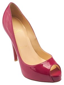 Christian Louboutin Very Prive 120 Peep Toe Patent Pink Pumps
