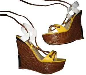 Charles Jourdan Ankle Wrap Woven Platform Yellow/White Wedges