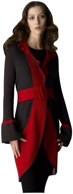 Item - Red Brown Colorblock Wrap Cardigan Duster Sweatercoat Activewear Size 12 (L)