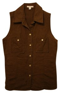 Gap Linen Collared Sleeveless Brown Chocolate Espresso Button Down Shirt Espresso Brown