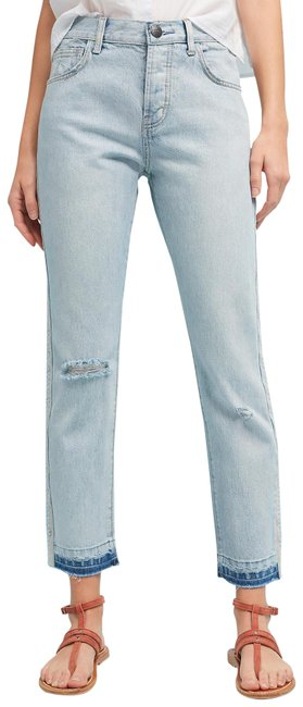 Item - Blue Light Wash Current/Elliott The Slouchy Skinny Mid-rise Cropped Straight Leg Jeans Size 28 (4, S)