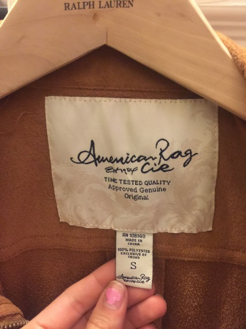 American Rag Womens Suade New camel brown Jacket Image 3