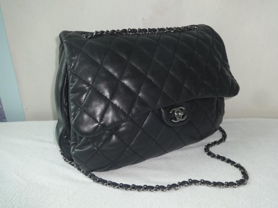 732cd86361a8 Chanel Classic Quilted 3 Accordion Flap Jumbo Excellent Condition Black  Leather Shoulder Bag - Tradesy