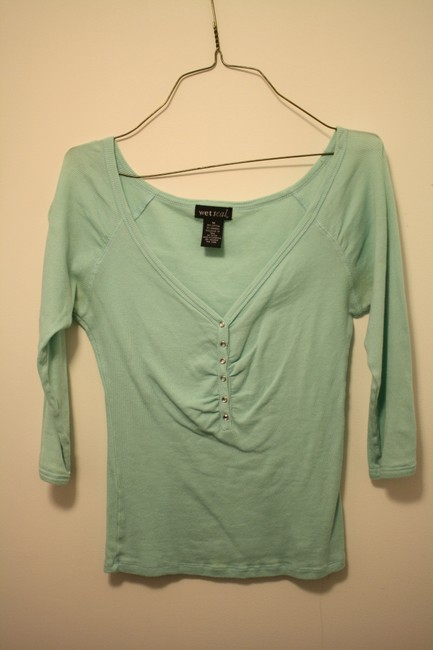 Wet Seal Aqua 3/4 Length Sleeves V-neck Button Down Knit Cotton Top Pool