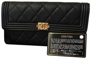 Chanel Chanel Sold Out 17C Black Gusset Caviar Flap Wallet green interior ghw