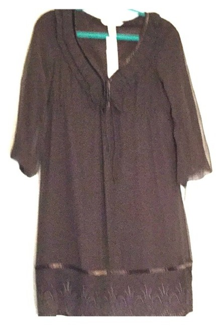 Item - Brown W Silk Dvf Ruffle W/ Scalloped Hem Mid-length Formal Dress Size 6 (S)