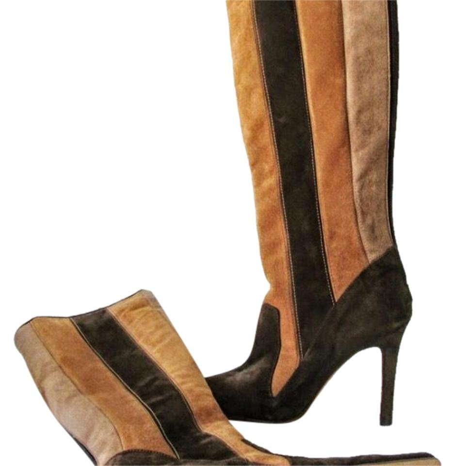 d63fc73a0eb Manolo Blahnik Brown Tan Knee Hi Suede Boots Booties Size US 7.5 ...