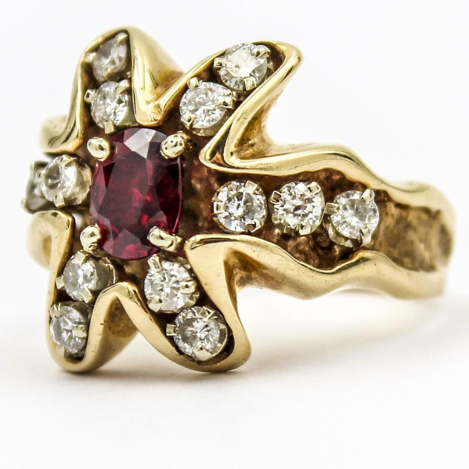 Yellow gold ruby and diamond 14k women 39 s vintage ring for Fine jewelry diamond pendants