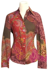 Etro Button Down Shirt Red, Moss, Purples
