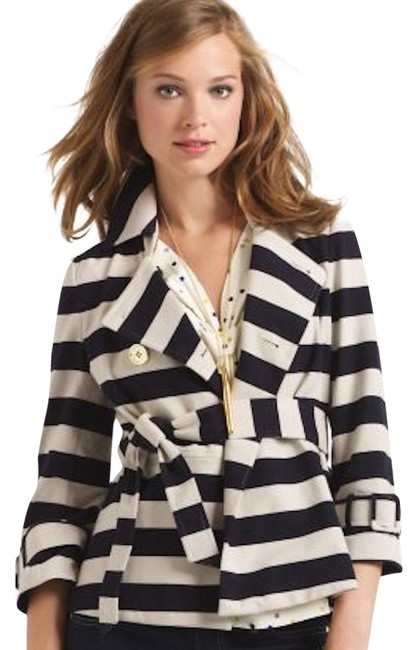 Item - Tan Step Out In Stripes: Bow-back Pea Coat Blazer Size 8 (M)