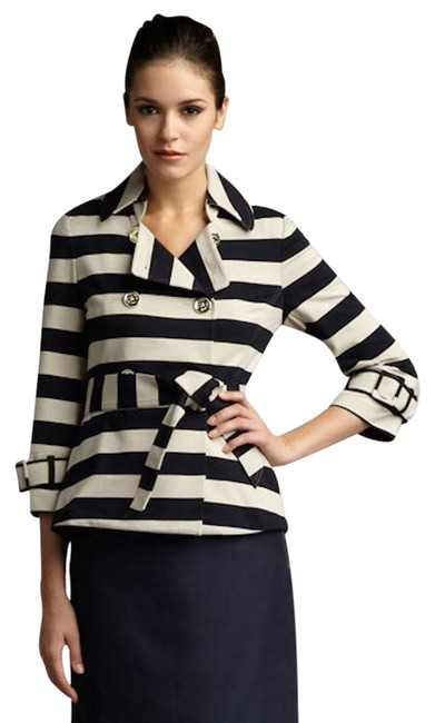 Kate Spade Tan Step Out In Stripes: Bow-back Pea Coat Blazer Size 8 (M) Kate Spade Tan Step Out In Stripes: Bow-back Pea Coat Blazer Size 8 (M) Image 2