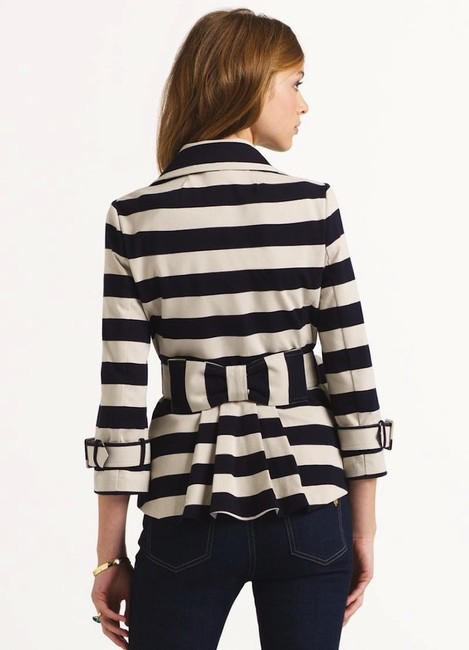 Kate Spade Tan Step Out In Stripes: Bow-back Pea Coat Blazer Size 8 (M) Kate Spade Tan Step Out In Stripes: Bow-back Pea Coat Blazer Size 8 (M) Image 4