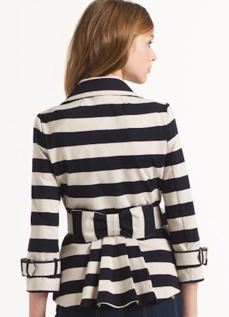 Kate Spade Tan Step Out In Stripes: Bow-back Pea Coat Blazer Size 8 (M) Kate Spade Tan Step Out In Stripes: Bow-back Pea Coat Blazer Size 8 (M) Image 5