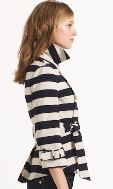 Kate Spade Tan Step Out In Stripes: Bow-back Pea Coat Blazer Size 8 (M) Kate Spade Tan Step Out In Stripes: Bow-back Pea Coat Blazer Size 8 (M) Image 6