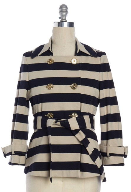 Kate Spade Tan Step Out In Stripes: Bow-back Pea Coat Blazer Size 8 (M) Kate Spade Tan Step Out In Stripes: Bow-back Pea Coat Blazer Size 8 (M) Image 7