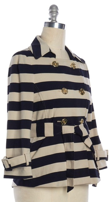 Kate Spade Tan Step Out In Stripes: Bow-back Pea Coat Blazer Size 8 (M) Kate Spade Tan Step Out In Stripes: Bow-back Pea Coat Blazer Size 8 (M) Image 8