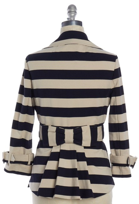 Kate Spade Tan Step Out In Stripes: Bow-back Pea Coat Blazer Size 8 (M) Kate Spade Tan Step Out In Stripes: Bow-back Pea Coat Blazer Size 8 (M) Image 9