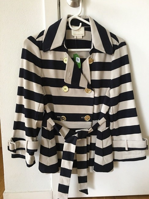 Kate Spade Tan Step Out In Stripes: Bow-back Pea Coat Blazer Size 8 (M) Kate Spade Tan Step Out In Stripes: Bow-back Pea Coat Blazer Size 8 (M) Image 10