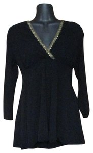 Sweet Pea by Stacy Frati Nylon Mesh Sequin Formal Winter Top Black