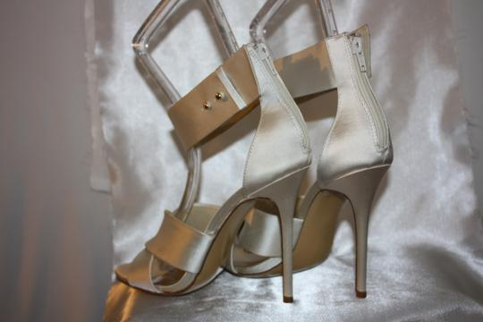 Audrey Brooke Comfortable Satin Ankle Strap Wedding Off White Sandals