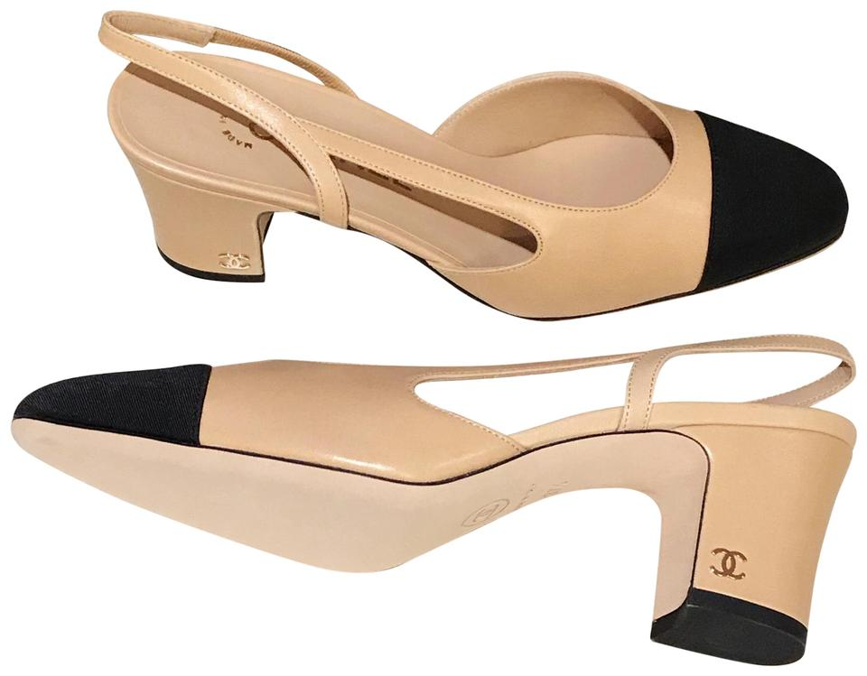 5bf3b631e5 Chanel Beige and Black Cap Toe Leather Slingback Pumps. Size: EU 37.5  (Approx. US 7.5) ...
