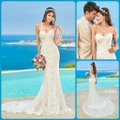 KittyChen Couture Ivory/Champagne Lace Alvina Formal Wedding Dress Size 10 (M)