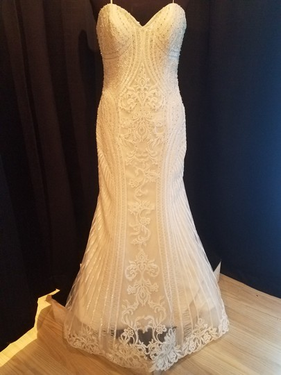 KittyChen Couture Ivory/Champagne Lace Alvina Formal Wedding Dress Size 10 (M) Image 1