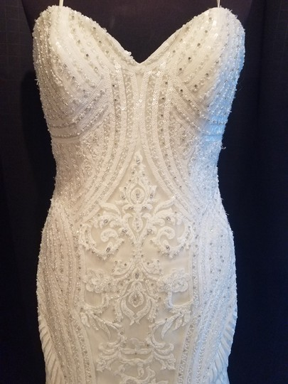 KittyChen Couture Ivory/Champagne Lace Alvina Formal Wedding Dress Size 10 (M) Image 2