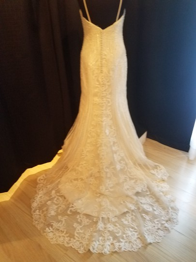 KittyChen Couture Ivory/Champagne Lace Alvina Formal Wedding Dress Size 10 (M) Image 3