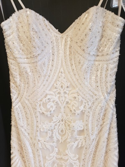 KittyChen Couture Ivory/Champagne Lace Alvina Formal Wedding Dress Size 10 (M) Image 4