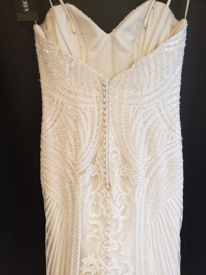 KittyChen Couture Ivory/Champagne Lace Alvina Formal Wedding Dress Size 10 (M) Image 5