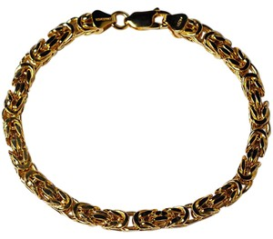 NY Collection Classic Byzantine Link Bracelet Men Women Gold Plated Sterling Silver