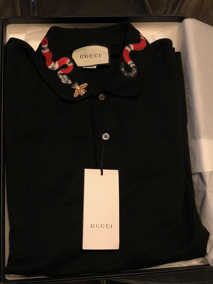 c5063e611 Gucci Black Cotton Polo with Kingsnake Embroidery Button-down Top ...