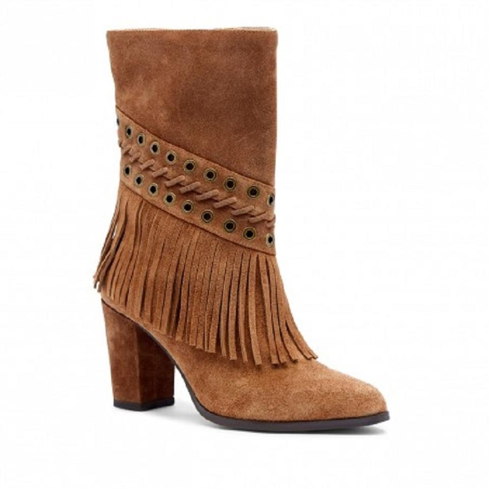JOE'S Jeans Tan Western Hanover Suede Leather Fringe Western Tan Style Boots/Booties 64f48d