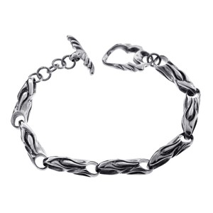 NY Collection Oxidized 925 Sterling Custom Vintage Bullet Toggle Clasp Mens Bracelet