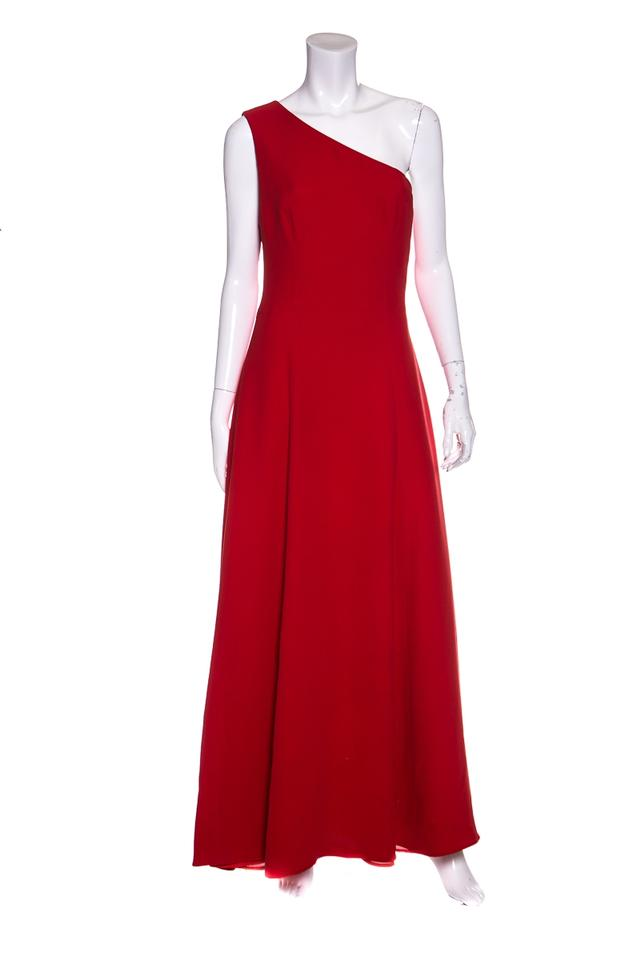 Giorgio Armani Red One Shoulder Zip Woven Gown Long Formal Dress ...